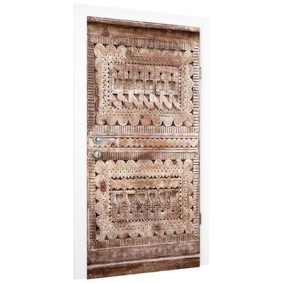 PPS. Imaging GmbH Tapete Alte verzierte marokkanische Holztür in Essaouria 215 cm H x 96 cm B
