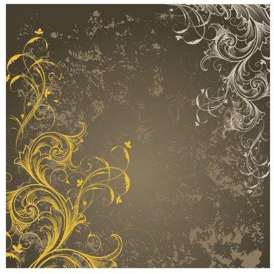 PPS. Imaging GmbH Tapete Schnörkel in Gold und Silber 192 cm H x 192 cm B