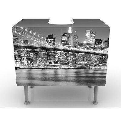 PPS. Imaging GmbH 60 cm Waschbeckenunterschrank Nighttime Manhattan Bridge II