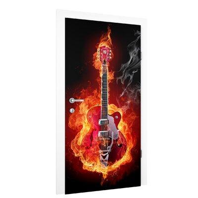 PPS. Imaging GmbH Tapete Gitarre in Flammen 215 cm B cm H x 96 cm B