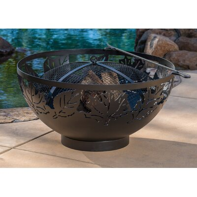 "Autumn Leaves Steel Charcoal Fire Pit Size: 18"" H x 36"" W x 36"" D"