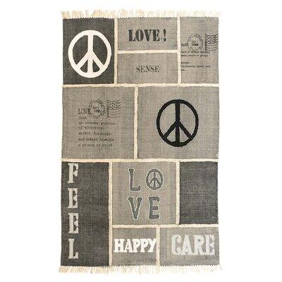 PureDay Teppich Love & Peace in Grau / Beige