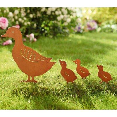 PureDay 4-tlg. Gartenstecker-Set Entenfamilie