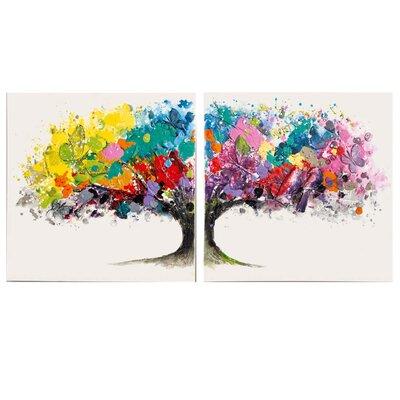 PureDay 2-tlg. Leinwandbild-Set Magic Tree, Originalgemälde