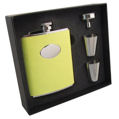 Leather Stainless Steel Hip Flask Gift Set Finish: Sunshine Yellow