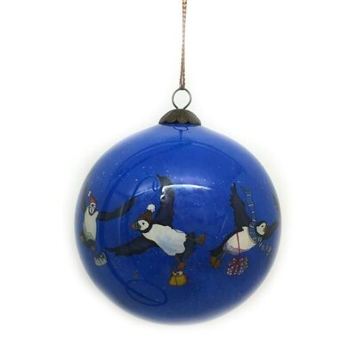Emma Ball Puffin Hand Painted Glass Ball Ornament
