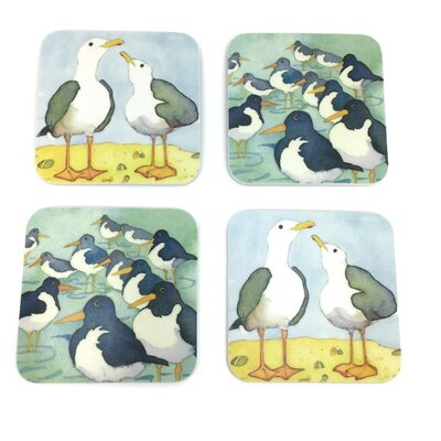 Emma Ball 4 Piece Assorted Coastal Bird Melamine Coaster Set