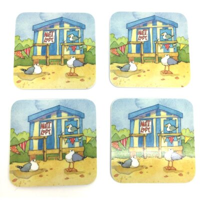 Emma Ball A Day At The Seaside Melamine Coasters
