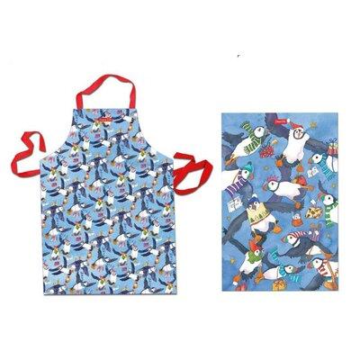 Emma Ball 2 Piece Christmas Puffin Apron and Tea Towel Set