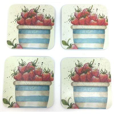 Emma Ball Pot of Strawberries Melamine Coaster