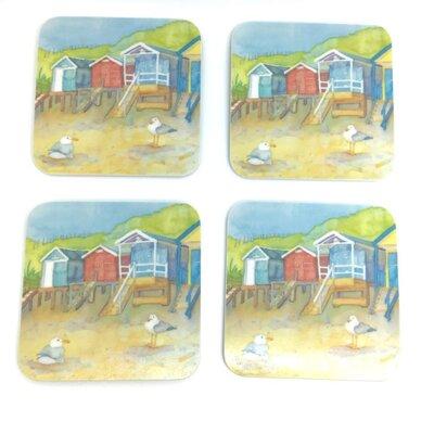 Emma Ball Beach Huts Melamine Coaster