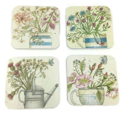 Emma Ball 4 Piece Assorted Floral Melamine Coaster Set