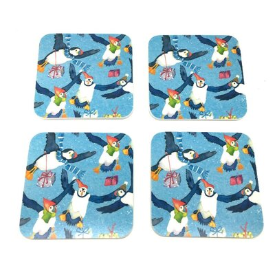Emma Ball 8 Piece Christmas Puffins Coaster and Placemat Set