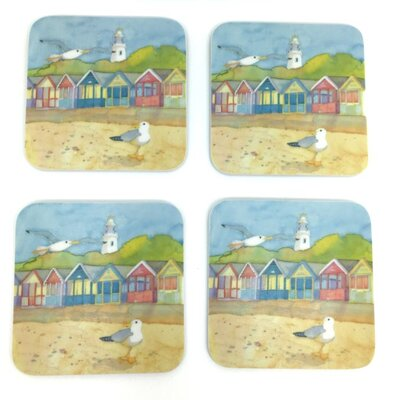 Emma Ball Beach Huts and Lighthouse Melamine Coaster