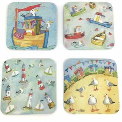 Emma Ball 4 Piece Assorted Coastal Melamine Coaster Set