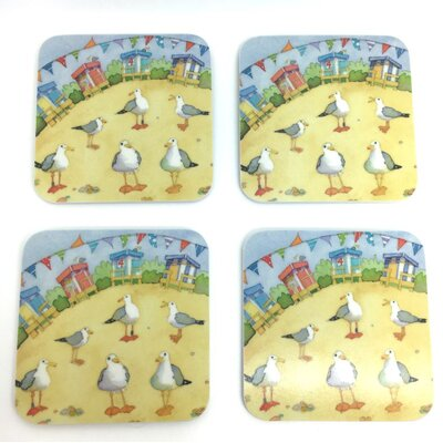 Emma Ball Beach Hut and Bunting Melamine Coaster
