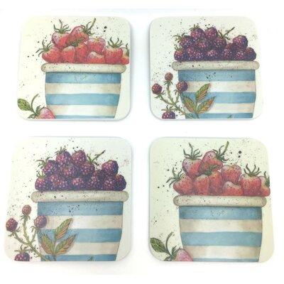 Emma Ball 4 Piece Assorted Fruit Melamine Coaster Set