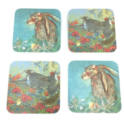 Emma Ball 4 Piece Assorted Hare Melamine Coaster Set