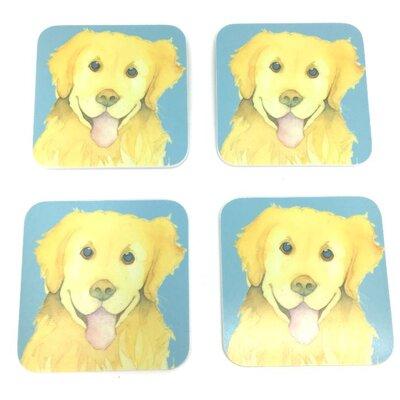 Emma Ball Golden Retriever Melamine Coaster