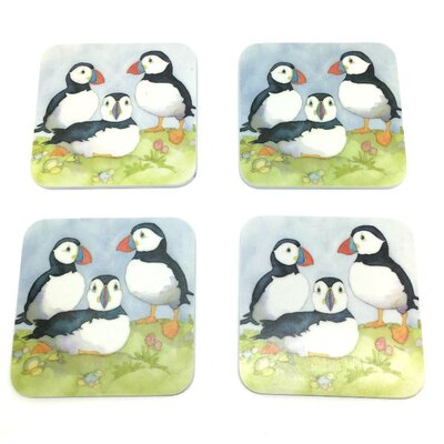 Emma Ball Three Puffins Melamine Coaster