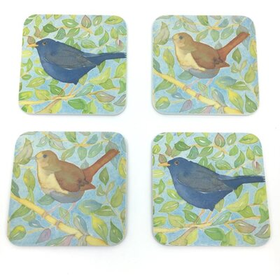 Emma Ball 4 Piece Assorted Garden Bird Melamine Coaster Set