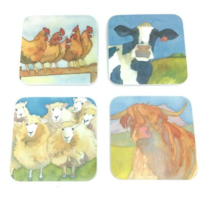 Emma Ball 4 Piece Assorted Farmyard Melamine Coaster Set