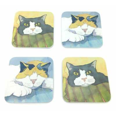 Emma Ball 4 Piece Assorted Cat Melamine Coaster Set