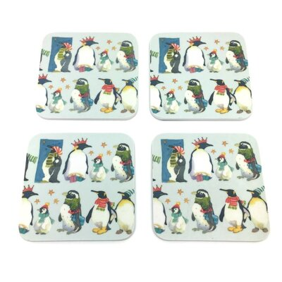 Emma Ball Winter Penguins Melamine Coaster