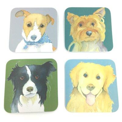 Emma Ball 4 Piece Assorted Dog Melamine Coaster Set