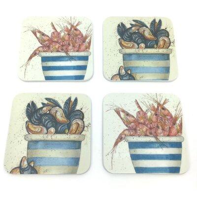 Emma Ball 4 Piece Assorted Sea Melamine Coaster Set