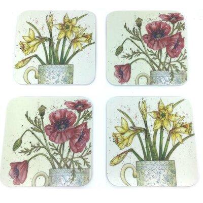 Emma Ball 4 Piece Assorted Floral II Melamine Coaster Set