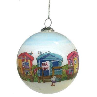 Emma Ball Beach Hut Hand Painted Glass Ball Ornament