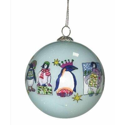 Emma Ball Penguin Hand Painted Glass Ball Ornament