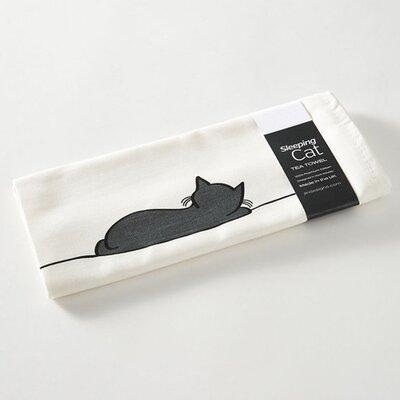 White/Black Sleeping Cat Tea Towel