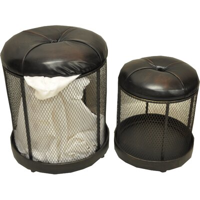 Storage Entryway 2 Piece Accent Stool Set