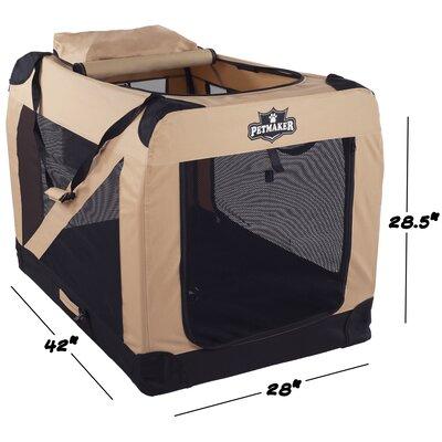 """Soft Sided Pet Crate Color: Khaki, Size: 28.5""""H x 28""""W x 42""""L"""