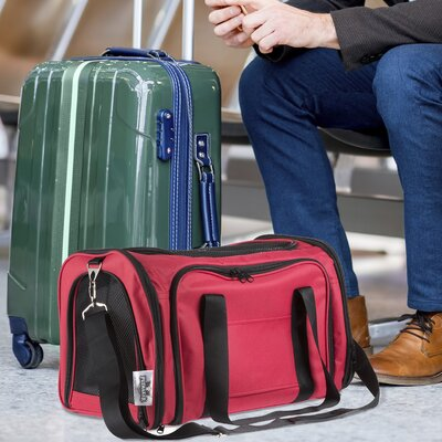 Airline Compliant Expandable Pet Carrier Color: Red
