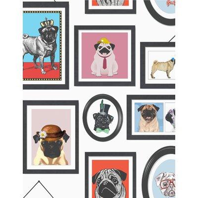 Holden Decor A Pug's Life 10.05m L x 53cm W Roll Wallpaper