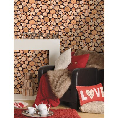 Holden Decor Stacked Logs 10.05m L x 53cm W Roll Wallpaper