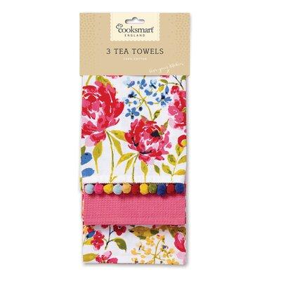 Cooksmart Floral Romance 3-Piece Tea Towel Set