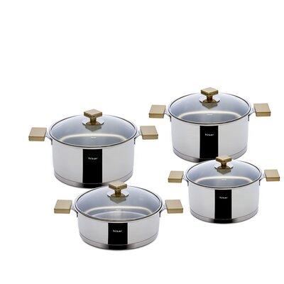 Milan Pot Set with Lid Color: Gold