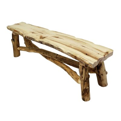 "Aspen Grizzly Wood Bench Color: Bronze Aspen, Size: 18"" H x 60"" W x 12"" D"