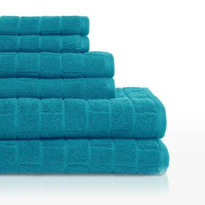Cobblestone 6 Piece Towel Set Color: Teal