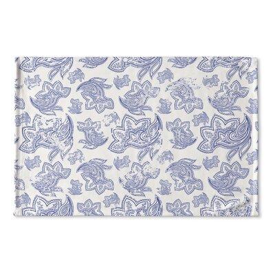 Agatha Distressed Flat Weave Bath Rug Color: Blue/ Ivory