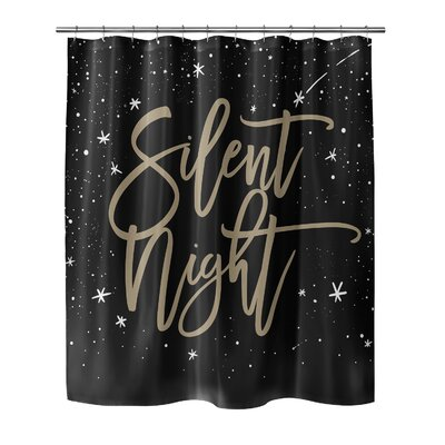 """Chauvin Silent Night Shower Curtain Size: 72"""" H x 70"""" W, Color: Black/ Gold"""