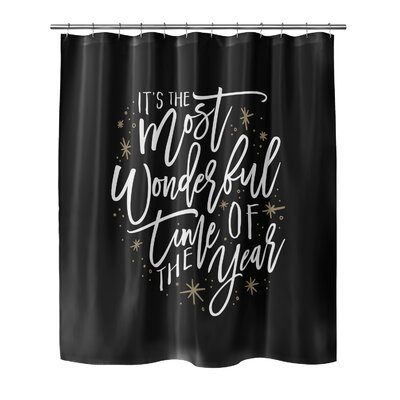 """Giannini The Most Wonderful Time Shower Curtain Size: 72"""" H x 70"""" W, Color: Black/ White/ Gold"""