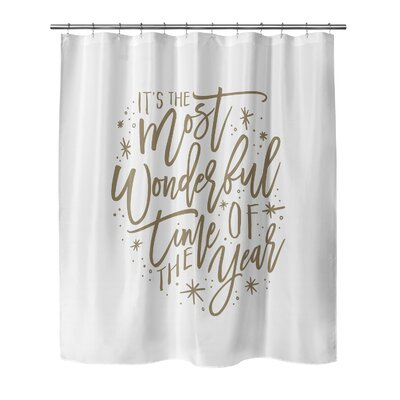 """Giannini The Most Wonderful Time Shower Curtain Size: 90"""" H x 70"""" W, Color: White/ Tan"""