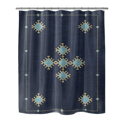 """Geometric Shower Curtain Size: 72"""" H x 70"""" W, Color: Blue/Teal"""