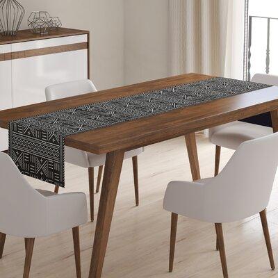 Kindel Mudcloth Table Runner Color: Black/ Ivory