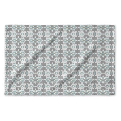 Cosmos Hand Towel Color: Ivory/ Turquoise/ Grey